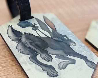 Travel Tag: Rabbit (illustrated luggage tag for backpacks, bags, suitcases, and more)