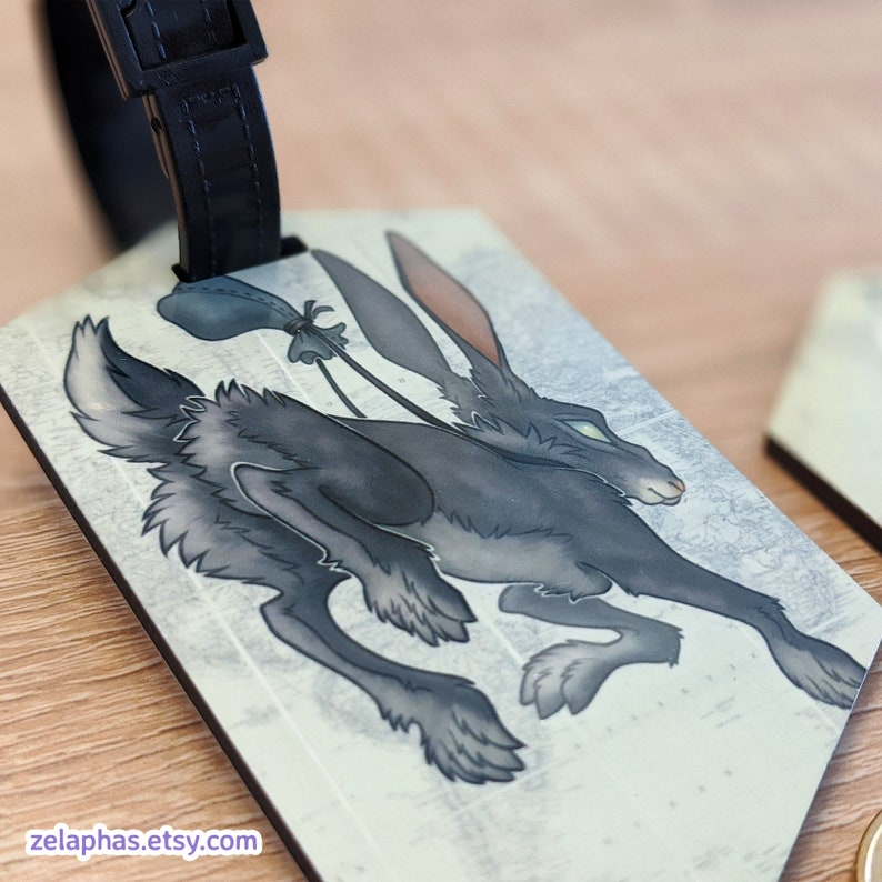 Travel Tag: Rabbit illustrated luggage tag for backpacks image 0