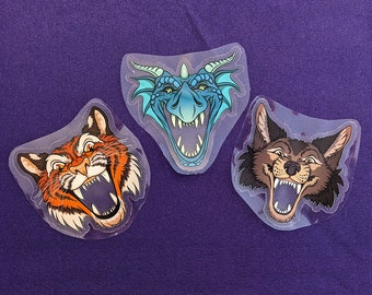 MAW clear stickers - Wolf, Tiger, Dragon - Clear mouth with teeth to place over photos, laptop light