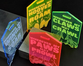 Clear Acrylic Travel Tags - Paws, Hooves, Wings and Claws - Glows under blacklight!