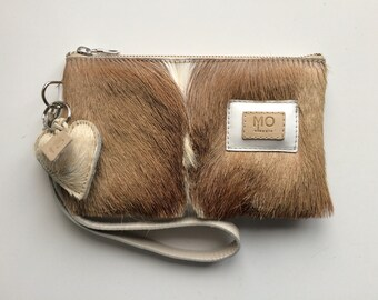 ff54b0df5 Leren clutch / portemonnee / tasje met vacht voor mobiel, pasjes, geld