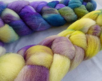 Purple and Yellow Gradient Charollais - Hand Dyed Wool Roving (Top) - 100g