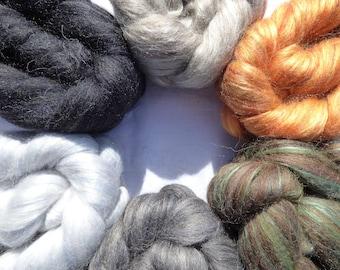 Blended Top - Merino Shetland Corriedale Silk - The Elements:Ages - Sample Pack - 200g