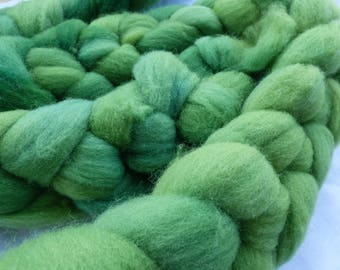 Green Southdown - Hand Dyed Wool Roving (Top) - 100g