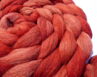Brick Red Polwarth & Merino D'Arles Blend - Hand Dyed Wool Roving (Top) - 100g