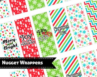 Hershey Nugget Wrappers, Christmas - in Red and Green, party favor,printable, download, personal use only
