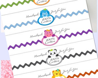 Washcloth, Dishcloth label wraps, wrappers, baby set2 Animal Circles, baby shower instant download