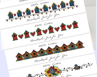 Washcloth, Dishcloth label wraps, wrappers, Country Birdhouses, instant download, birdhouse tags