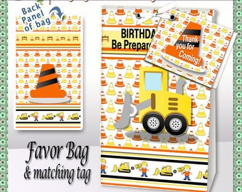 """Favor Bag, """"Construction Zone Party"""" printable Party Favor, gift bag, gift tag, toppers, etsy instant download"""