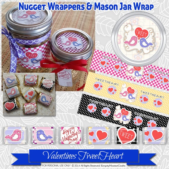 Hershey Nugget wrappers, Mason Jar wrap, labels, Valentines tag printable