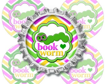 Book Worm - 1 inch circle Digital Bottle Cap Images,etsy instant download, buttons, pendants, COMMERCIAL OK