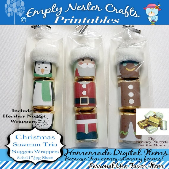 Hershey Nuggets Candy Bar Wrapper Christmas Santa Trio For