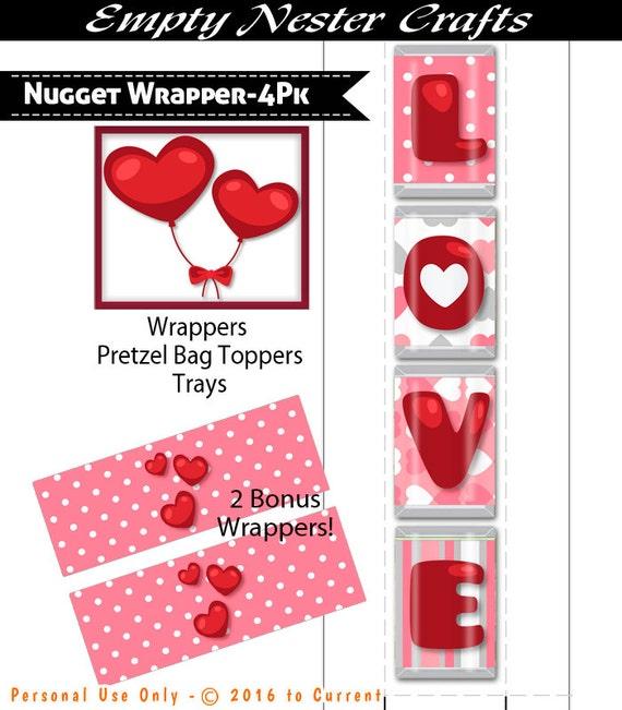 Hershey Nuggets Wrapper L O V E Pretzel Bag Toppers trays | Etsy