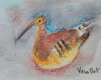 watercolor bird listed artist signed original model authentic Drouot watercolor bird