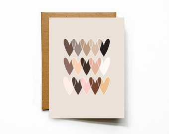 A2 Flat Note Card with envelope, Hearts of the World, heart motif with many shades reflecting beauty of diversity, hearts illustration