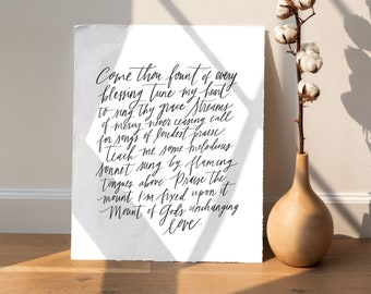 8x10 Art Print, Come Thou Fount of Every Blessing lyrics, classic hymn and worship song artwork with modern calligraphy