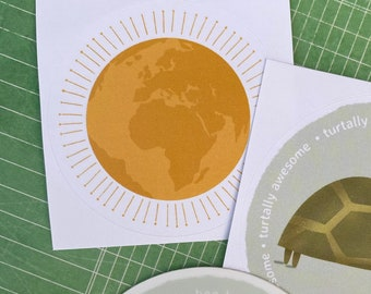 2 inch Circle Sticker, Bright World Series, Yellow Sunshine Earth Illustration