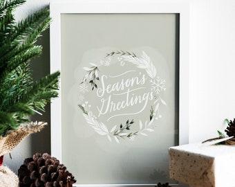 8x10 Holiday Art Print, Season's Greetings Christmas Decor, Holiday Message, Festive Wall Art, Farmhouse Style, Neutral Christmas Colors