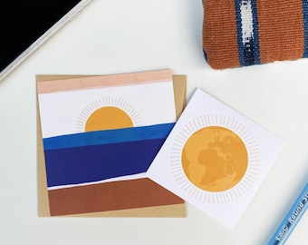 3.5 inch Mini Square Note Card, Cobalt Landscape – Just because, gratitude, friendship, co-workers, gender-neutral, encouragement, gift tag
