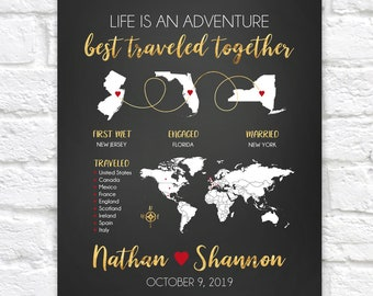 Wedding Gift, Personalized Map Art, Wedding Sign, Travel Theme, Traveling Couple, World Traveler Gifts, International Travelers | WF671