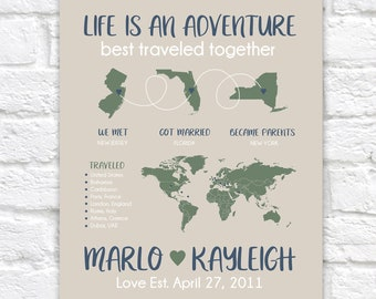 Personalized Gift for Husband or Wife, Map of Special Locations and Travels,  Customizable for Wife, New Parents Gift,  World Map | WF690