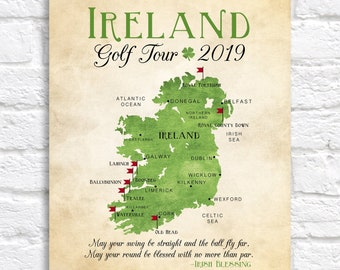 Ireland Golf Map, Golf Gift - Gift for Dad  Personalized Travel Map, Golf Trip, Golf Tour of Ireland, Gift for Golfer, Celtic, Irish