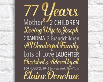 Custom Birthday Art, ANY Year, 77th Birthday, Brown and Gold, Customizable Gifts, Older Mother, Grandmother Birthdays Seventy WF663