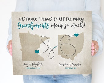 Grandparents Map, Long Distance Grandpa and Grandma Gift, Two Maps for Nana, Papa, Grandchildren, Gift to give Grandma or Grandpa | WF141