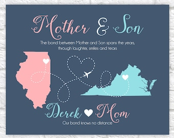 Mother and Son Map Art, Gift for Mother's Day from Son, Quote about Mothers and Sons Long Distance, Motherhood Bond, Moving Away Goodbye