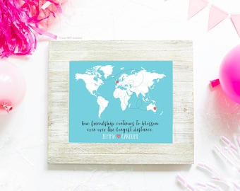 Long Distance Best Friends Custom Art, Personalized World Map, Best Friend Birthday Gift, Peach and Mint, Moving Away, Flowers Floral | WF78