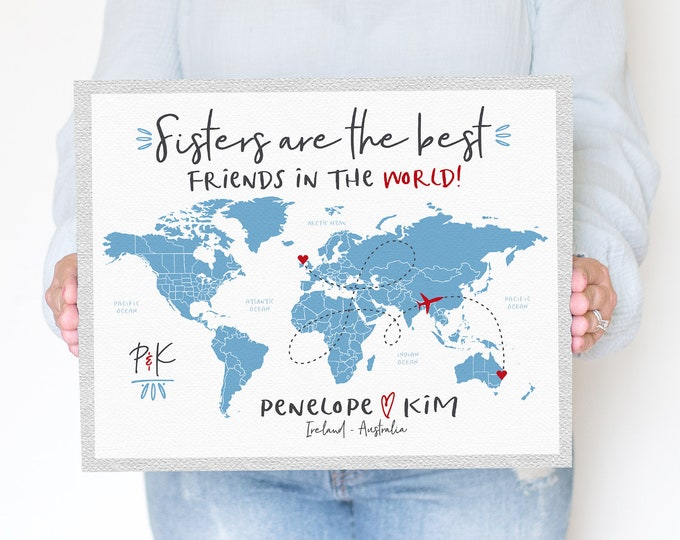 Featured listing image: Sister Gifts, Best Sister in the WORLD, Long Distance Sisters, Gift for Older or Younger Sister Living Overseas, Friends Like Sister | WF312