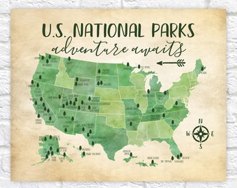 US National Parks Map, Adventure, Mountains, Parks, Rivers, Tribal, Watercolor Green, Kids Bedroom, Classroom, Educational, USA Parks