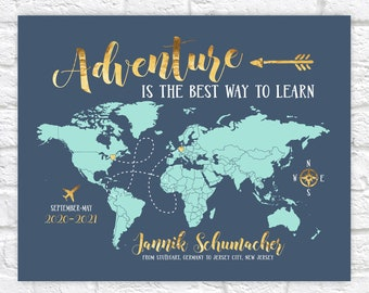 Study Abroad Map, Gift for Foreign Exchange Student, Adventure Quote, Studying overseas, World Map Gift, Hosted Student Gifts Moving