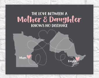 The Love Between A Mother And Daughter Knows No Distance, Gifts for Mothers Day, Personalized Print For Mom Long Distance