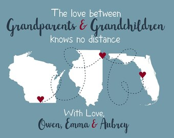 Personalized Grandparent Maps, Christmas Gift for Grandma and Grandpa from Grandchildren, Long Distance Family Quotes | WF624