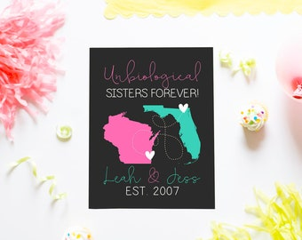Unbiological Sisters, Cute Personalized Art for Best Friends, Like a Sister, Trendy Gifts Funny, Sarcastic Quotes, Fun Birthday | WF359