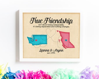Friendship Is Greater Than Distance Long Distance Best Friend Etsy