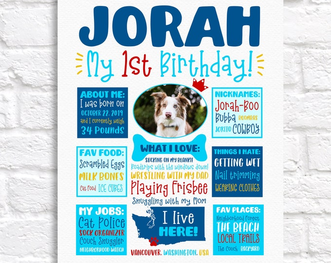 Featured listing image: Dog Birthday Sign, Personalized for Male or Female Dog, ANY Birthday, Dog Lovers Gift, Dog Stats, Dogs First Birthday, Turning 1 Puppy Paw
