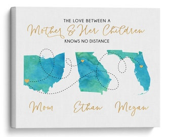 Mom Gift, Custom Gifts For Mom, Gift From Children, Canvas Sign Personalized, Long Distance Wall Art, Watercolor Style on White, from Kids
