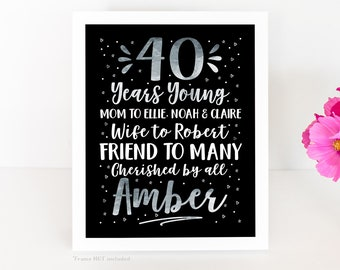 40th Birthday Board, Gift for Her, 40th Birthday Party Decoration, 40 year old birthday party, 40th for Women Black and Silver WF717