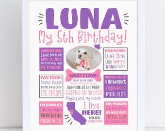 Dog Birthday Sign - 1st Party Poster Banner, Dog Milestone, Personalize Dog Party Art, Dog Statistics Infographic, Dog Pet Potrait