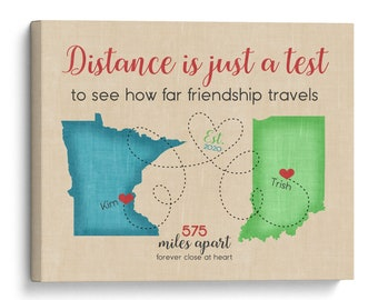 Moving Gift for Friends, Distance is just a test to see how far Friendship Travels Quote, Two Map Poster, Going Away Presents Distancing