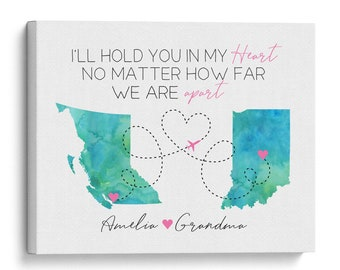 Custom Map for Grandma, Mother's Day Gifts, Long Distance Far Apart Grandmother and Granddaughter, Cute Trendy Gift for Grandmas Birthday