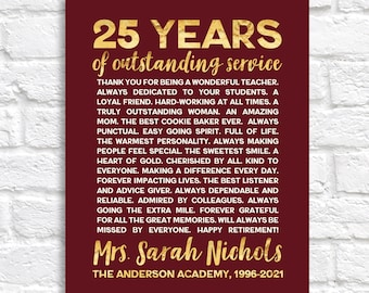 Teacher Retirement Gift, Personalized Years Teaching, Gift for Employee Retiring, Co-worker Retirement Sign, Thank You Gift from Colleagues