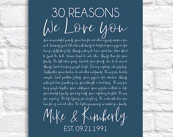 Reasons We Love You Anniversary Gift, Personalized for Parents Anniversary, 30 Years Married, Choose ANY Year, Custom Sign Celebrating Year