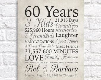 60th Anniversary Gift, 60 Years Married or Any Year, Gift for Grandma and Grandpa, Grandparents Anniversary, Parents, Diamond Gray Sign