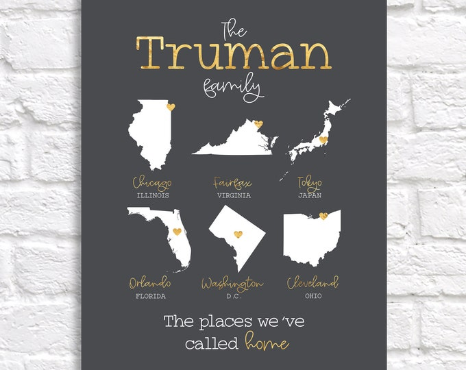 Featured listing image: Places Lived Maps, Family Name Personalized Housewarming Gift, Military, Map of Places Lived In, Home Decoration, Moving Gift, Army Marines