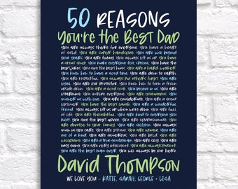 50th Birthday Gift for Dad, Husband 50 Year Old Personalized Reasons We Love You, 50th Birthday Party Decorations, Gifts for Mens 50th