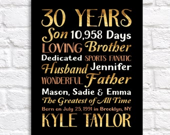 30th Birthday Gift for Men, Gift for Husbands 30th Bday, Personalized Birthday Decorations, Turning 30 Years Old, Thirty Gift for Him