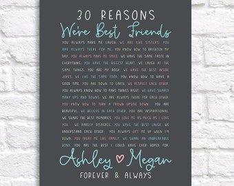 Best Friend Gift, Personalized Reasons We're Best Friends, Birthday Gift for BFF, Friendship Things, 30 Reasons Friends, 30th Birthday Gift